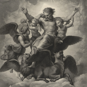 An engraving after 'The Vision of Ezekiel', a painting executed by Raphael (c.1518) now in the Galleria Palatina, Florence (inv.no. 174). This print is lettered with the title and dedication. Signed and dated by the printmaker, with th