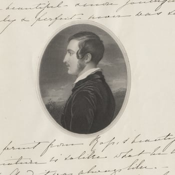 Details from a letter by Prince ALbert showing an image of him