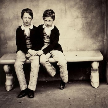 Photograph of two boys, the Comte d'Eu and Duc D'Alencon, sat on a stone bench