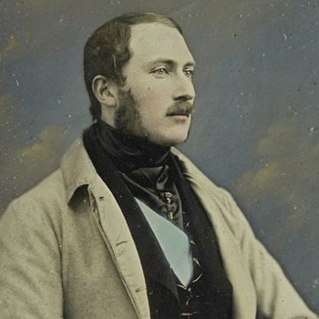 Detail of photograph showing Prince Albert looking past the camera
