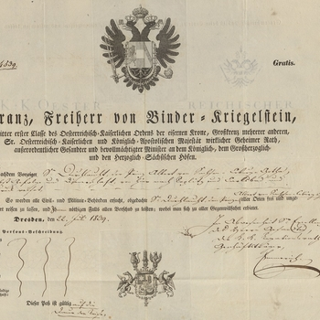 Prince Albert's passport, number 4539, issued on the 22 July 1839 in Dresden.