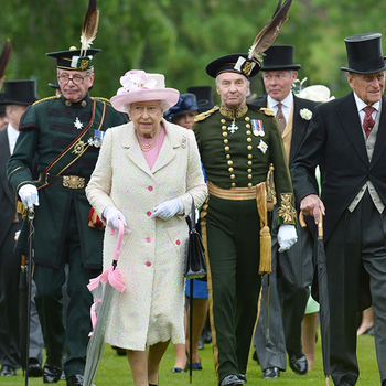 The Queen at a garden party at the Palace of Holyroodhouse