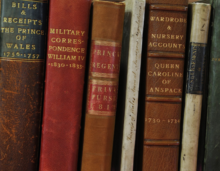 Close up of the spines of volumes